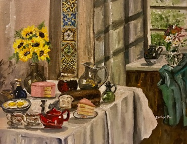 """""""Breakfast with Honey"""" by Esther Pai. 11x14"""" Acrylic Painting."""