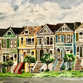 """""""Painted Ladies"""" by Esther Pai. 11x14"""" Acrylic Painting."""