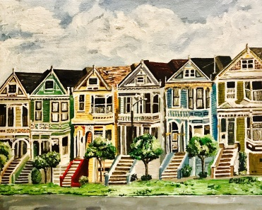 """Painted Ladies"" by Esther Pai. 11x14"" Acrylic Painting."